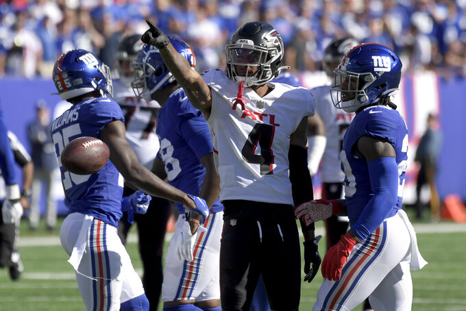 Atlanta Falcons wide receiver Tajae Sharpe (4) reacts after a play resulting in a first down during the second half of an NFL football game against the New York Giants, Sunday, Sept. 26, 2021, in East Rutherford, N.J. (AP Photo/Bill Kostroun)