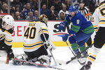 Boston Bruins goalie Tuukka Rask (40), of Finland, stops Vancouver Canucks' J.T. Miller (9) during the first period of an NHL hockey game Saturday, Feb. 22, 2020, in Vancouver, British Columbia. (Darryl Dyck/The Canadian Press via AP)