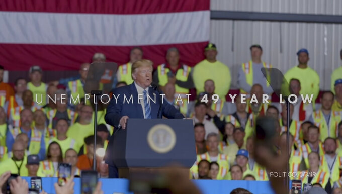 This undated image provided by President Donald Trump's campaign shows a scene from the Trump's 2020 Super Bowl NFL football spot. This year for the first time, national politics will invade the game as presidential candidate Michael Bloomberg and President Trump have shelled out millions to broadcast campaign ads during advertising's biggest night, when nearly 100 million viewers are expected to tune into Fox. (Donald J. Trump for President, Inc. via AP)