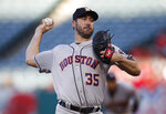 Houston Astros starting pitcher Justin Verlander throws to a Los Angeles Angels batter during the first inning of a baseball game Wednesday, May 16, 2018, in Anaheim, Calif. (AP Photo/Jae C. Hong)