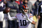 Chicago Bears quarterback Mitchell Trubisky (10) throws during the second half of an NFL football game against the Houston Texans, Sunday, Dec. 13, 2020, in Chicago. (AP Photo/Nam Y. Huh)