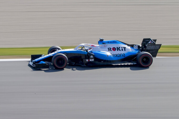 Williams driver Robert Kubica of Poland steers his car during a Formula One pre-season testing session at the Barcelona Catalunya racetrack in Montmelo, outside Barcelona, Spain, Friday, March 1, 2019. (AP Photo/Joan Monfort)