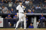 New York Yankees pitcher Lucas Luetge reacts after giving up a run on a wild pitch to the Toronto Blue Jays during the fourth inning of a baseball game Wednesday, Sept. 8, 2021, in New York. (AP Photo/Adam Hunger)