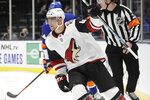 Arizona Coyotes right wing Michael Grabner (40) celebrates after scoring a goal during the first period of the team's NHL hockey game against the New York Islanders on Thursday, Oct. 24, 2019, in Uniondale, N.Y. (AP Photo/Frank Franklin II)