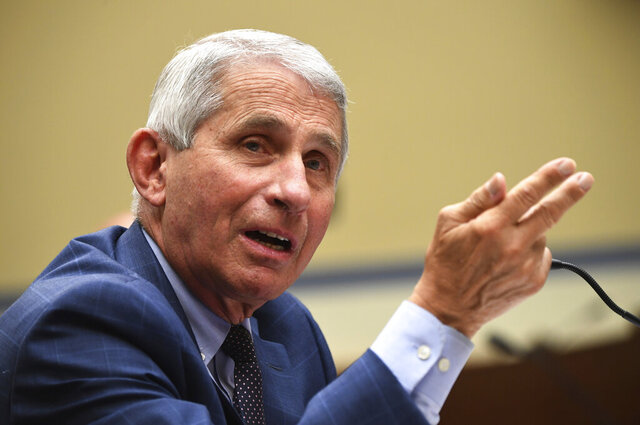 Dr. Anthony Fauci, director of the National Institute for Allergy and Infectious Diseases, speaks during a House Subcommittee on the Coronavirus crisis hearing, Friday, July 31, 2020 on Capitol Hill in Washington.  (Kevin Dietsch/Pool via AP)