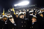 U.S. Naval Academy Midshipmen celebrate after an NCAA college football game between Tulsa and Navy, Saturday, Nov. 17, 2018, in Annapolis, Md. Navy won 37-29. (AP Photo/Patrick Semansky)