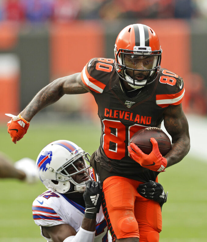 Cleveland Browns wide receiver Jarvis Landry rushes against the Buffalo Bills during the first half of an NFL football game, Sunday, Nov. 10, 2019, in Cleveland. (AP Photo/Ron Schwane)