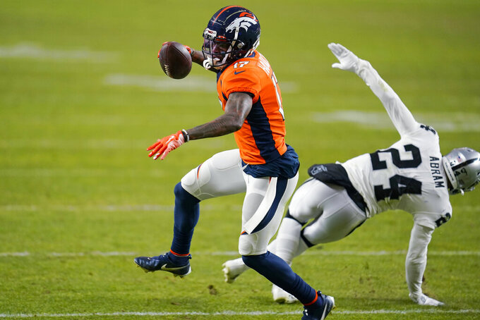 FILE - In this Jan. 3, 2021, file photo, Denver Broncos wide receiver DaeSean Hamilton (17) runs against the Las Vegas Raiders during the second half of an NFL football game in Denver. A person with knowledge of the details tells The Associated Press that Hamilton sustained a serious knee injury Friday, May 14, while working out on his own. The person, who spoke on condition of anonymity, said Hamilton is suspected to have torn an ACL, as first reported by NFL Network. (AP Photo/Jack Dempsey, File)