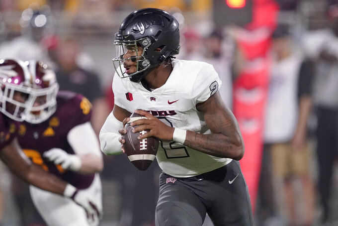 UNLV quarterback Doug Brumfield (2) looks to throw against Arizona State during the first half of an NCAA college football game, Saturday, Sept. 11, 2021, in Tempe, Ariz. (AP Photo/Matt York)
