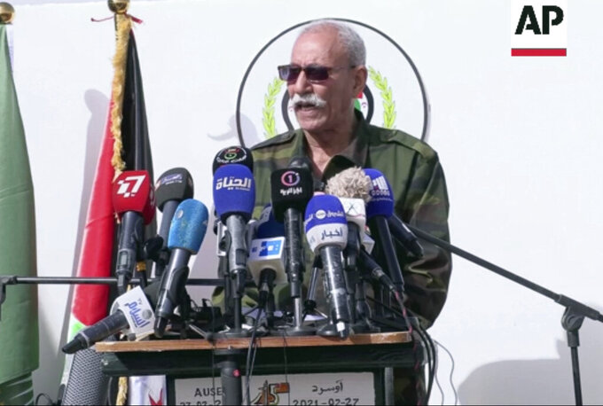 FILE - In this file image made from video on Feb. 27, 2021, Brahim Ghali, leader of the pro-independence Polisario Front speaks to a crowd in Tindouf, Algeria. Ghali, the leader of an Algeria-backed movement fighting for the independence of Western Sahara, was admitted to a hospital in northern Spain last month. His presence under a disguised identity didn't go unnoticed to the government in Morocco, the country that annexed the northwestern African territory nearly half a century ago. (AP Photo, file)