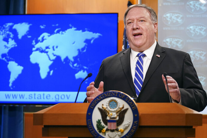 Secretary of State Mike Pompeo speaks about the coronavirus during news conference at the State Department in Washington on Wednesday, May 6, 2020. (Kevin Lamarque/Pool Photo via AP)