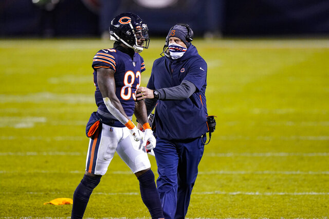 Chicago Bears wide receiver Javon Wims (83) talks with head coach Matt Nagy after being flagged for unnecessary roughness in the second half of an NFL football game against the New Orleans Saints in Chicago, Sunday, Nov. 1, 2020. Wims was ejected from the game. (AP Photo/Nam Y. Huh)