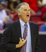 San Diego State head coach Brian Dutcher shouts a play to his team during the second half  of an NCAA college basketball game against Nevada in the semifinals of the Mountain West Conference tournament Friday, March 9, 2018, in Las Vegas. (AP Photo/L.E. Baskow)