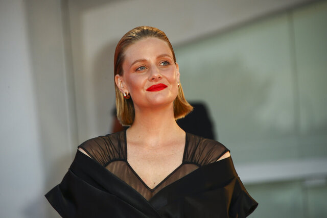 Actress Romola Garai poses for photographers upon arrival at the premiere of the film 'Miss Marx' during the 77th edition of the Venice Film Festival in Venice, Italy, Saturday, Sept. 5, 2020. (Photo by Joel C Ryan/Invision/AP)