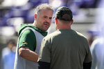 Baylor head coach Matt Rhule, left, talks with Kansas State head coach Chris Klieman, right, before an NCAA college football game in Manhattan, Kan., Saturday, Oct. 5, 2019. (AP Photo/Orlin Wagner)