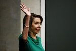 Speaker of the House Nancy Pelosi, D-Calif., waves as she arrives for a panel discussion at Delaware County Community College, Friday, May 24, 2019, in Media, Pa. (AP Photo/Matt Slocum)
