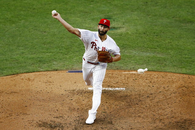 Philadelphia Phillies' Jake Arrieta pitches during the fourth inning of a baseball game against the Atlanta Braves, Saturday, Aug. 8, 2020, in Philadelphia. (AP Photo/Matt Slocum)