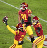 Southern California cornerback Olaijah Griffin (2) reacts after intercepting a pass against Washington State in the first half of an NCAA college football game in Los Angeles, Sunday, Dec. 6, 2020. (Keith Birmingham/The Orange County Register via AP)