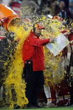 Kansas City Chiefs head coach Andy Reid is doused on the sideline during the second half of the NFL Super Bowl 54 football game against the San Francisco 49ers Sunday, Feb. 2, 2020, in Miami Gardens, Fla. (AP Photo/John Bazemore)