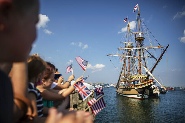The Mayflower II, a replica of the original Mayflower ship that brought the Pilgrims to America 400 year ago, sails into Plymouth, Mass., as it returns home following extensive renovations, Monday, Aug. 10, 2020. The ship began the slow return home last month after spending the last three years in Mystic, Connecticut, getting $11.2 million worth of renovations. (AP Photo/David Goldman)