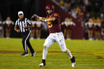 Iowa State quarterback Brock Purdy (15) throws a pass during the second half of an NCAA college football game against Kansas, Saturday, Oct. 2, 2021, in Ames, Iowa. (AP Photo/Charlie Neibergall)