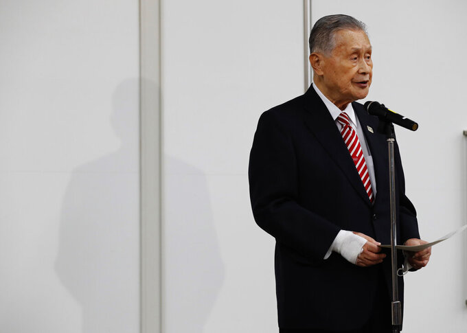 Yoshiro Mori, the president of the Tokyo Olympic organizing committee, speaks at a news conference in Tokyo Thursday, Feb. 4, 2021. (Kim Kyung-hoon/Pool Photo via AP)