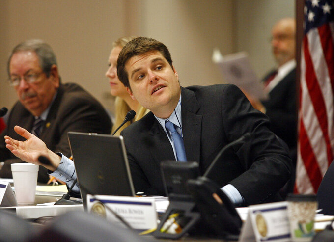 FILE - In this March 5, 2014, file photo Rep. Matt Gaetz, R-Fort Walton Beach answers a question during discussion of House Bill 843 - Cannabis at a Criminal Justice Subcommittee meeting in the House Office Building in Tallahassee, Fla. (AP Photo/Phil Sears, File)