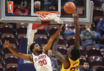 St. John's LJ Figueroa fouls Arizona State's Romello White during the second half of an NCAA college basketball game, Saturday, Nov. 23, 2019, in Uncasville, Conn. (AP Photo/Jessica Hill)
