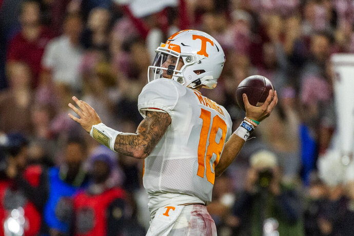 Tennessee quarterback Brian Maurer (18) throws during the first half of an NCAA college football game against Alabama, Saturday, Oct. 19, 2019, in Tuscaloosa, Ala. (AP Photo/Vasha Hunt)