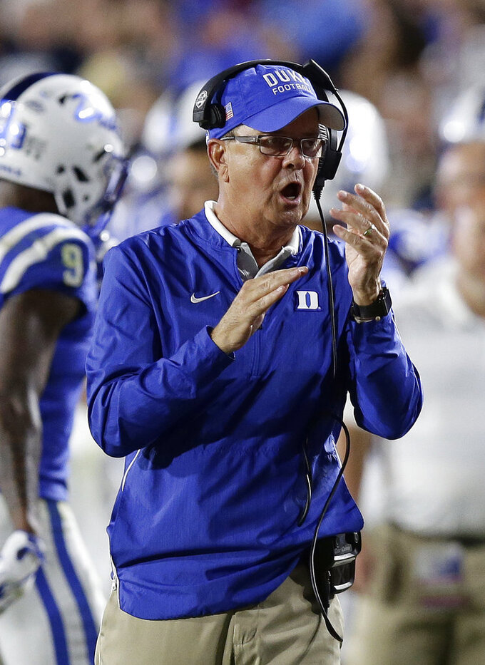 "FILE - In this Saturday, Sept. 29, 2018, file photo, Duke head coach David Cutcliffe reacts during the second half of an NCAA college football game against Virginia Tech in Durham, N.C. ""This parity in this league, I told our team, 'Welcome to the next seven games you're going to play,'"" Duke coach David Cutcliffe said after his Blue Devils dropped their ACC opener to Virginia Tech. ""Every ACC game is going to be the same. It's going to require that you play as well as you can possibly play."" (AP Photo/Gerry Broome, File)"