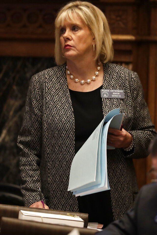 FILE - In this Feb. 4, 2020 file photo, Sen. Renee Unterman, R-Buford, is shown on the floor of the Georgia State Senate in Atlanta. Unterman is running in Georgia's 7th Congressional District. (AP Photo/John Bazemore, File)