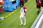 Arizona Cardinals quarterback Kyler Murray (1) walks off the field after an injury during the first half of an NFL football game against the Los Angeles Rams Sunday, Jan. 3, 2021, in Inglewood, Calif. (AP Photo/Ashley Landis)