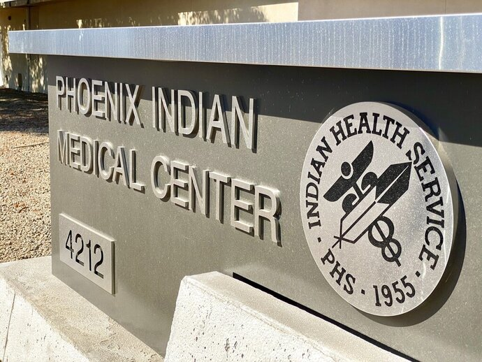 This Oct. 22, 2020, photo shows the Phoenix Indian Medical Center, which abruptly shut down its inpatient obstetrics services in August. The move has left dozens of expectant moms scrambling to seek birthing services elsewhere and some facing unexpected, steep costs. (Dalton Walker/Indian Country Today via AP)
