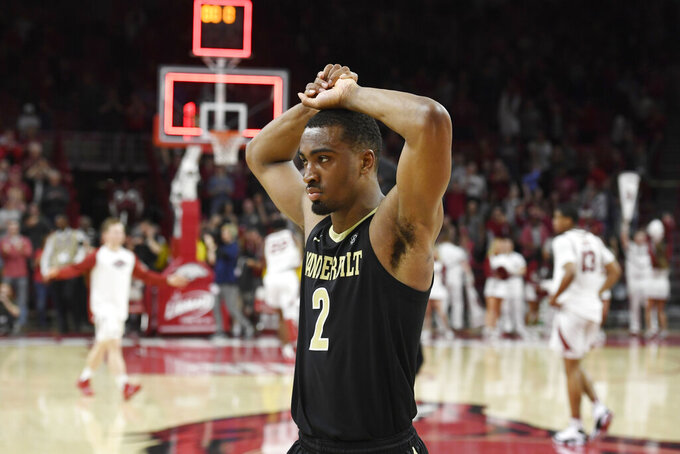 Vanderbilt guard Joe Toye (2) reacts after losing to Arkansas during the second half of an NCAA college basketball game, Tuesday, Feb. 5, 2019 in Fayetteville, Ark. (AP Photo/Michael Woods)