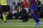 Barcelona's head coach Ernesto Valverde reacts during the Spanish Super Cup semifinal soccer match between Barcelona and Atletico Madrid at King Abdullah stadium in Jiddah, Saudi Arabia, Friday, Jan. 10, 2020. (AP Photo/Amr Nabil)