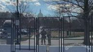 US Capitol Building Surrounded by Barbed Wire Fencing