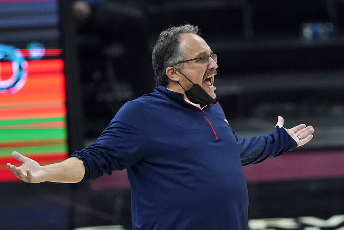 New Orleans Pelicans head coach Stan Van Gundy reacts in the second half of an NBA basketball game against the Cleveland Cavaliers, Sunday, April 11, 2021, in Cleveland. (AP Photo/Tony Dejak)