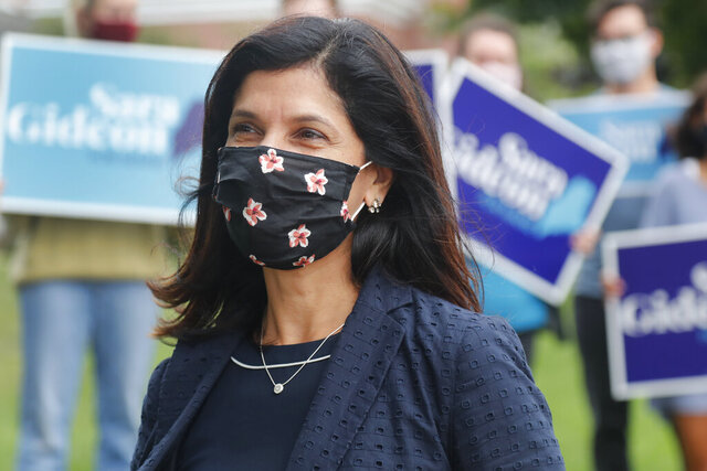 House speaker Sara Gideon, D-Freeport, speaks to news media near a polling station, Tuesday, July 14, 2020, in Portland, Maine. Gideon is one of three Democrat candidates seeking the party's nomination for U.S. Senate in the July 14 primary. (AP Photo/Elise Amendola)