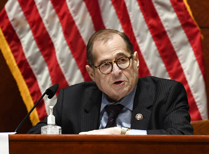 FILE- This June 24, 2020 file photo shows House Judiciary Committee Chairman Rep. Jerrold Nadler, D-N.Y., speaking during a hearing on Capitol Hill in Washington. After mail-in ballots were counted, Nadler was chosen by Democrats in his district to seek another term in the U.S. House of Representatives. (AP Photo/Susan Walsh, Pool, File)