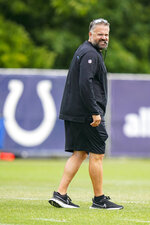 Carolina Panthers head coach Matt Rhule watches during a joint practice with the Indianapolis Colts at the NFL team's football training camp in Westfield, Ind., Thursday, Aug. 12, 2021. (AP Photo/Michael Conroy)