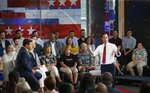 Democratic presidential candidate Julian Castro, right, answers a question during a FOX News Channel town hall event, Thursday, June 13, 2019, in Tempe, Ariz. Fox News anchors Bret Baier, left, and Martha MacCallum, second from left, listen to Castro's answer. (AP Photo/Ross D. Franklin)