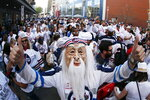 Winnipeg fans gather before Game 1 of the team's NHL hockey Western Conference final against the Vegas Golden Knights, Saturday, May 12, 2108, in Winnipeg, Manitoba. (John Woods/The Canadian Press via AP)