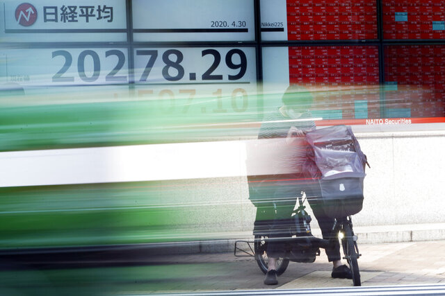 A man rides a bicycle in front of an electronic stock board showing Japan's Nikkei 225 index at a securities firm in Tokyo Thursday, April 30, 2020. Asian shares advanced on Thursday, riding a wave of optimism about a possible treatment for the coronavirus that set off a rally on Wall Street powerful enough to override data showing the U.S. economy had logged its worst quarterly performance since 2009. (AP Photo/Eugene Hoshiko)