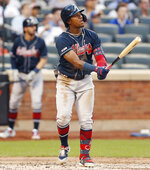 Atlanta Braves' Ronald Acuna Jr. (13) watches his solo home run during the third inning of a baseball game against the New York Mets, Sunday, June 30, 2019, in New York. (AP Photo/Kathy Willens)