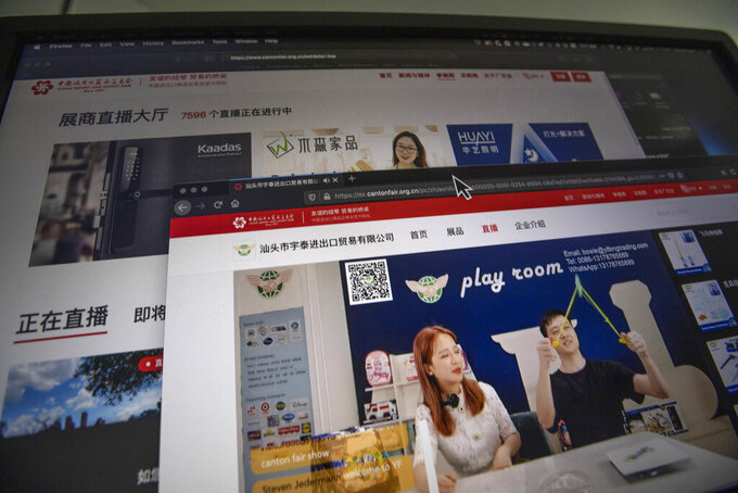 The website of the Canton Fair delivers live streaming from vendors is seen on a computer screen in Beijing on Friday, June 19, 2020. The twice-a-year fair usually draws more than 180,000 foreign buyers and 60,000 Chinese vendors to the southern city of Guangzhou. But with most foreign visitors barred from China, the event has transformed itself into an e-commerce platform with mini-shopping channels for nearly 8,000 vendors. (AP Photo/Ng Han Guan)
