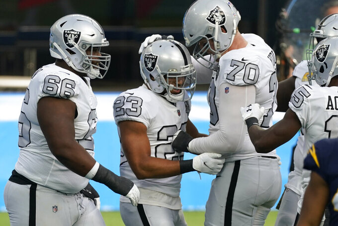 Las Vegas Raiders running back Devontae Booker (23) reacts with teammates offensive tackle Sam Young (70) and offensive guard Gabe Jackson (66) after scoring a touchdown during the first half of an NFL football game against the Los Angeles Chargers, Sunday, Nov. 8, 2020, in Inglewood, Calif. (AP Photo/Ashley Landis)