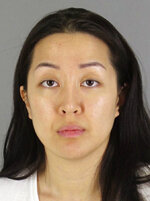 FILE - This undated booking photo provided by the San Mateo County, Calif., Sheriff's Office shows Tiffany Li. After deliberating for 12 days, jurors said Friday, Nov. 15, 2019 that Li is not guilty of conspiring with her boyfriend to kill 27-year-old Keith Green in 2016. (San Mateo County Sheriff's Office via AP, File)