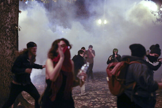 Donald Trump protest tear gas