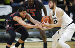Utah forward Timmy Allen, left, and Colorado forward Lucas Siewert vie for possession of the ball during the first half of an NCAA college basketball game Saturday, March 2, 2019, in Boulder, Colo. (AP Photo/David Zalubowski)