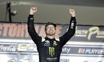 Kurt Busch celebrates after winning a NASCAR Cup Series auto race Sunday, Sept. 27, 2020, in Las Vegas. (AP Photo/Isaac Brekken)